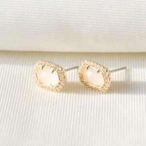 Kendra Scott Cade Gold Stud Earrings Rose Quartz
